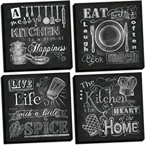 Beautiful, Fun, Chalkboard Kitchen Signs; Messy Kitchen, Heart of The Home, Spice of Life, and Cook Much; Four 8x8in Stretched Canvases; Ready to Hang!