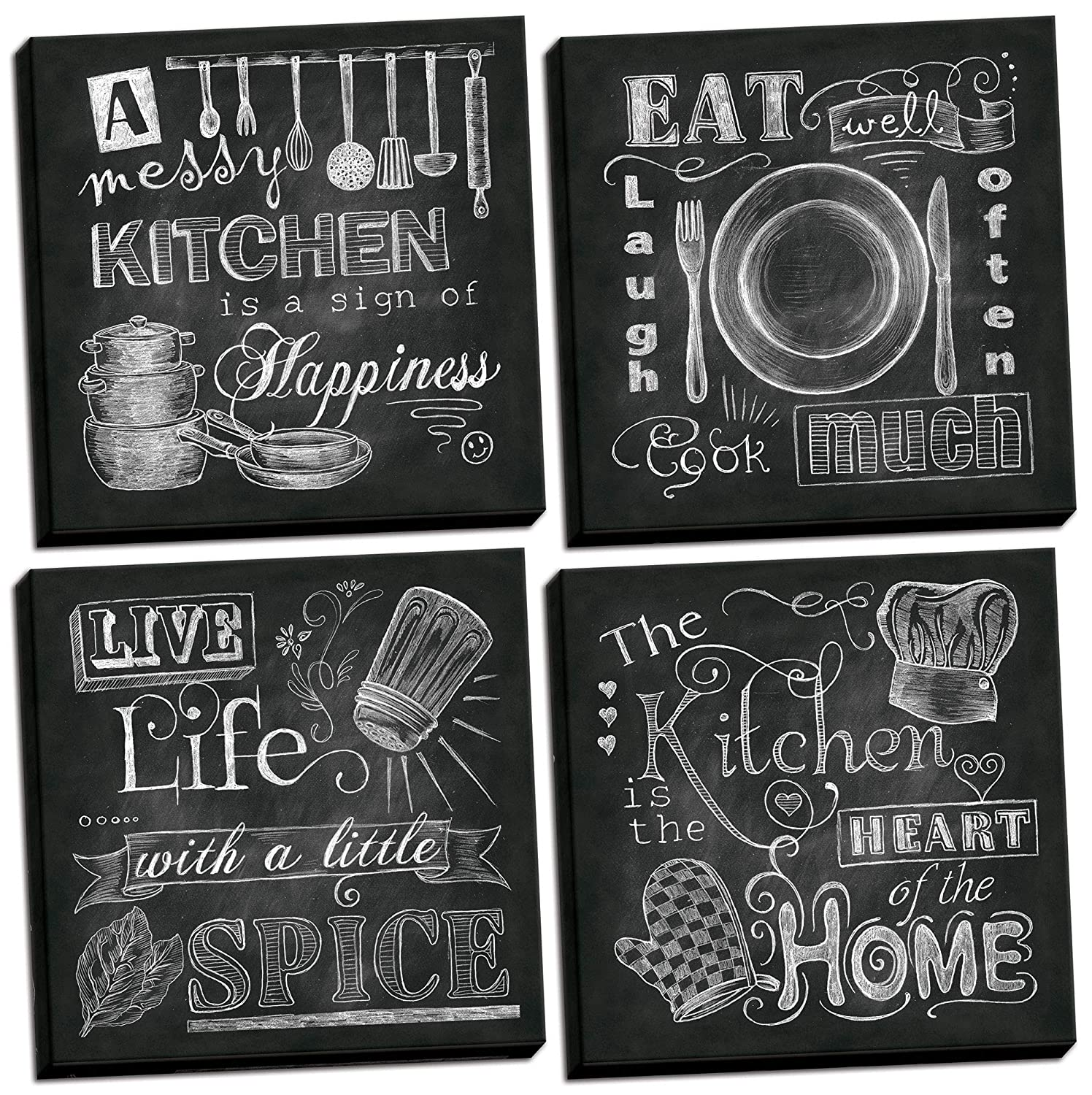 Beautiful, Fun, Chalkboard Kitchen Signs; Messy Kitchen, Heart of The Home, Spice of Life, and Cook Much; Four 12x12in Stretched Canvases; Ready to Hang!