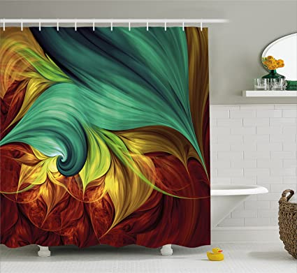 Ambesonne Fractal Shower Curtain By Computer Art Stylized Fluid Color Tones With Artistic Abstract Dynamic