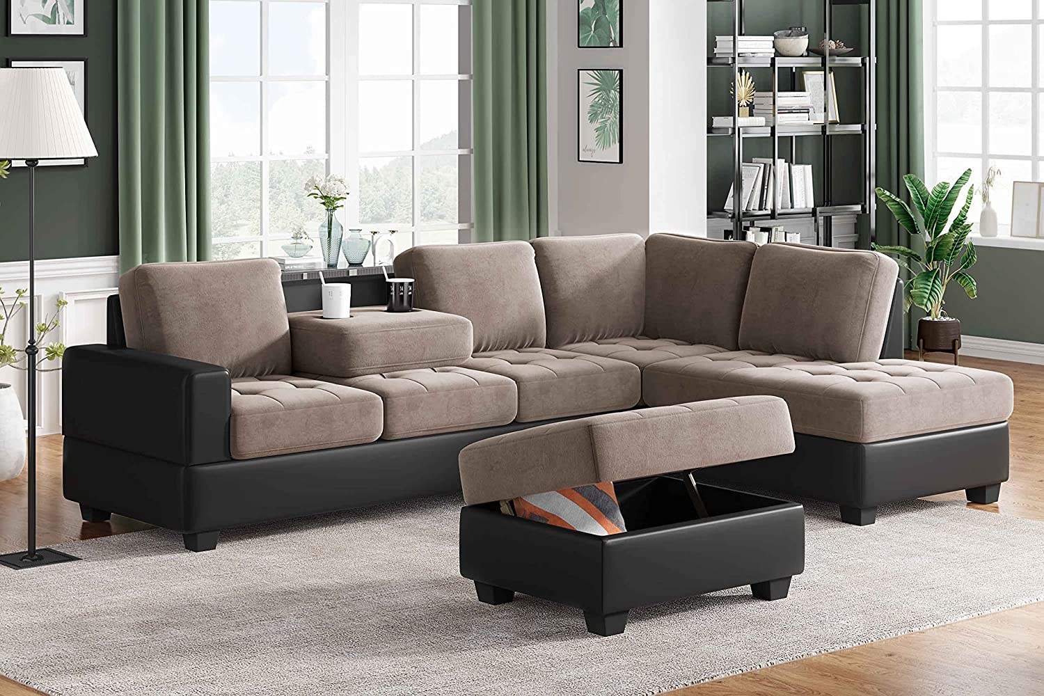 Cotoala Modern Large Sectional Set, L Shaped Microfiber Sofa Couch with with Reversible Chaise Lounge Storage Ottoman and Cup Holders for Living Room Furniture-Brown