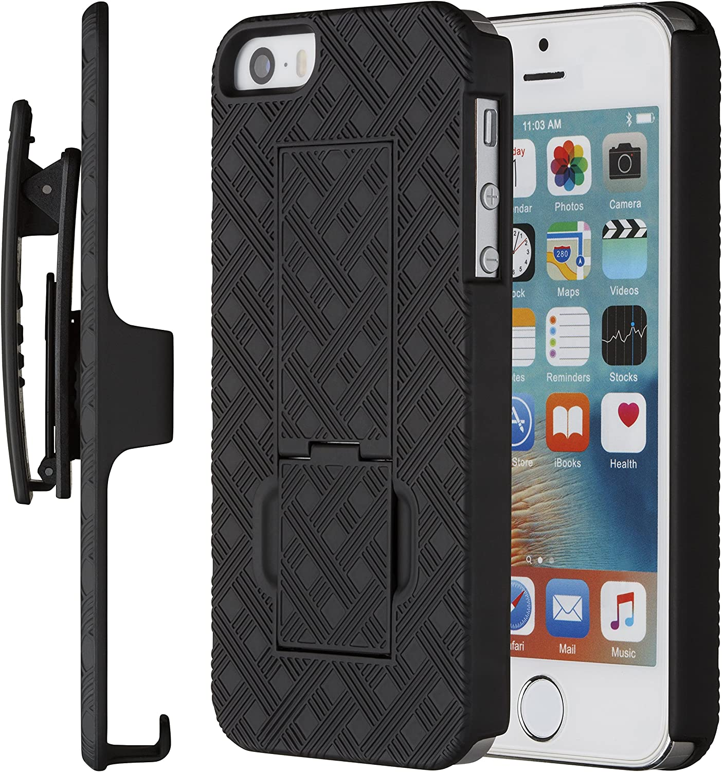 Moona iPhone SE Case, iPhone 5 5S Case, Shell Holster Combo Case for Apple iPhone SE and iPhone 5 / 5S with Kickstand & Belt Clip 10 Year Warranty - iPhone SE & 5S Thin Holster Belt Clip Case