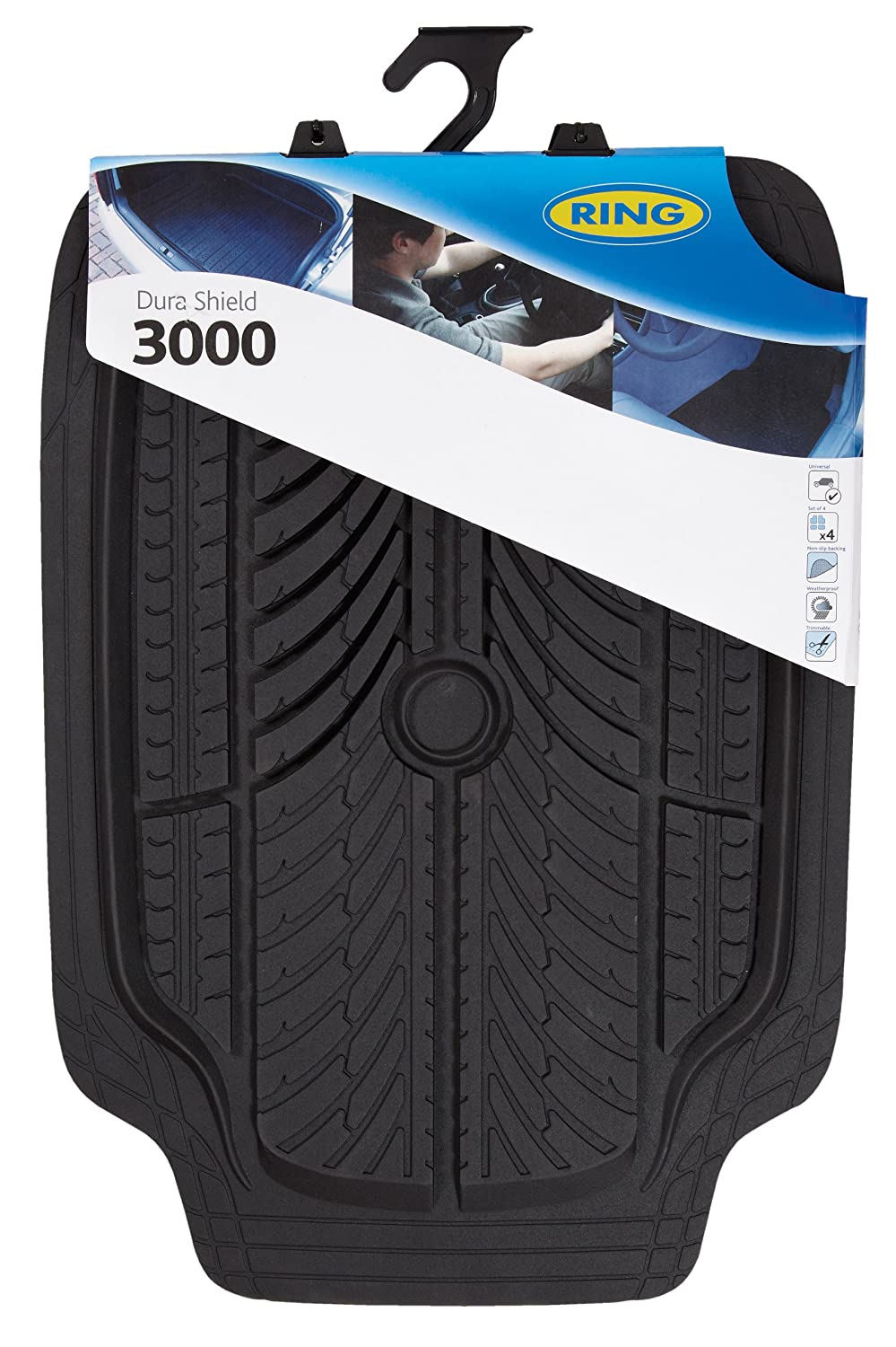 Ring Automotive RMAT15 Dura Shield 3000, Black, Set of 4