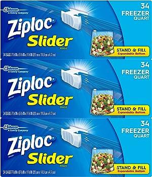 102-Count Ziploc Slider Quart Size Freezer Bags