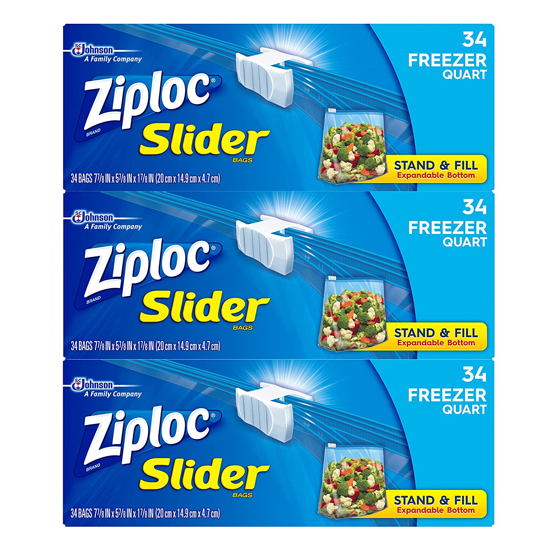 Ziploc Slider Freezer Bags, Quart, 3 Pack, 34 ct