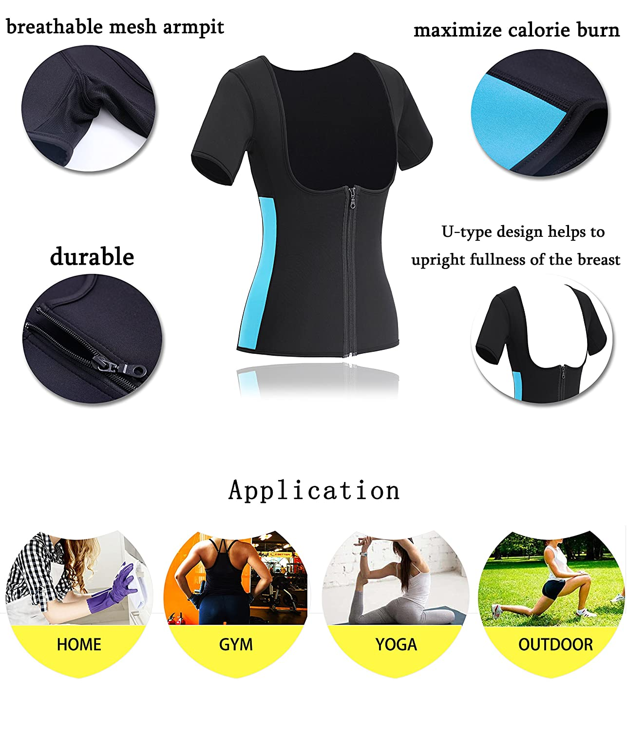 Gotoly Womens Neoprene Sauna Vest with Sleeves Gym Hot Sweat Suit Weight Loss