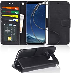 Arae Samsung Galaxy S8 Phone Case, PU Leather Wallet Flip Case Cover With Card Slots For Galaxy S8,Black