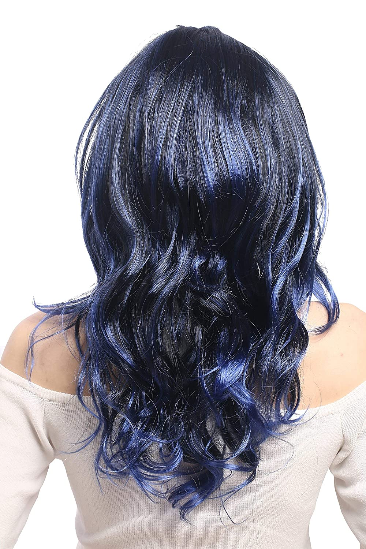 WIG ME UP ® - 91275-ZA103TZAU1 Peluca señoras Halloween Carnaval Negro Azul Violeta Rayado Ondulado graduada Raya en Medio 50 cm: Amazon.es: Juguetes y ...