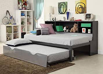 High Quality ACME Furniture 37225T Renell Twin Bed With Bookcase U0026 Trundle, Black U0026  Silver