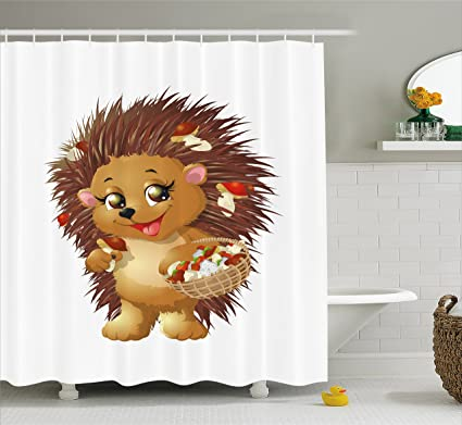 Ambesonne Hedgehog Shower Curtain Holding Mushroom With A Basket Of Autumn Foods Animal Fun