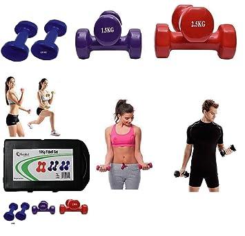 Juego de mancuernas Fitbell de vinilo con estuche: juego de mancuernas de 10 kg, Blue, Purple, Red: Amazon.es: Deportes y aire libre