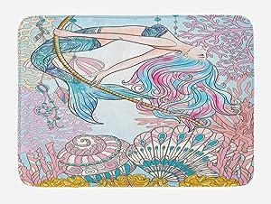 "Ambesonne Mermaid Bath Mat, Cartoon Mermaid in Sea Sirens of Greek Myth Female Human with Tail of Fish Image, Plush Bathroom Decor Mat with Non Slip Backing, 29.5"" X 17.5"", Pink Blue"
