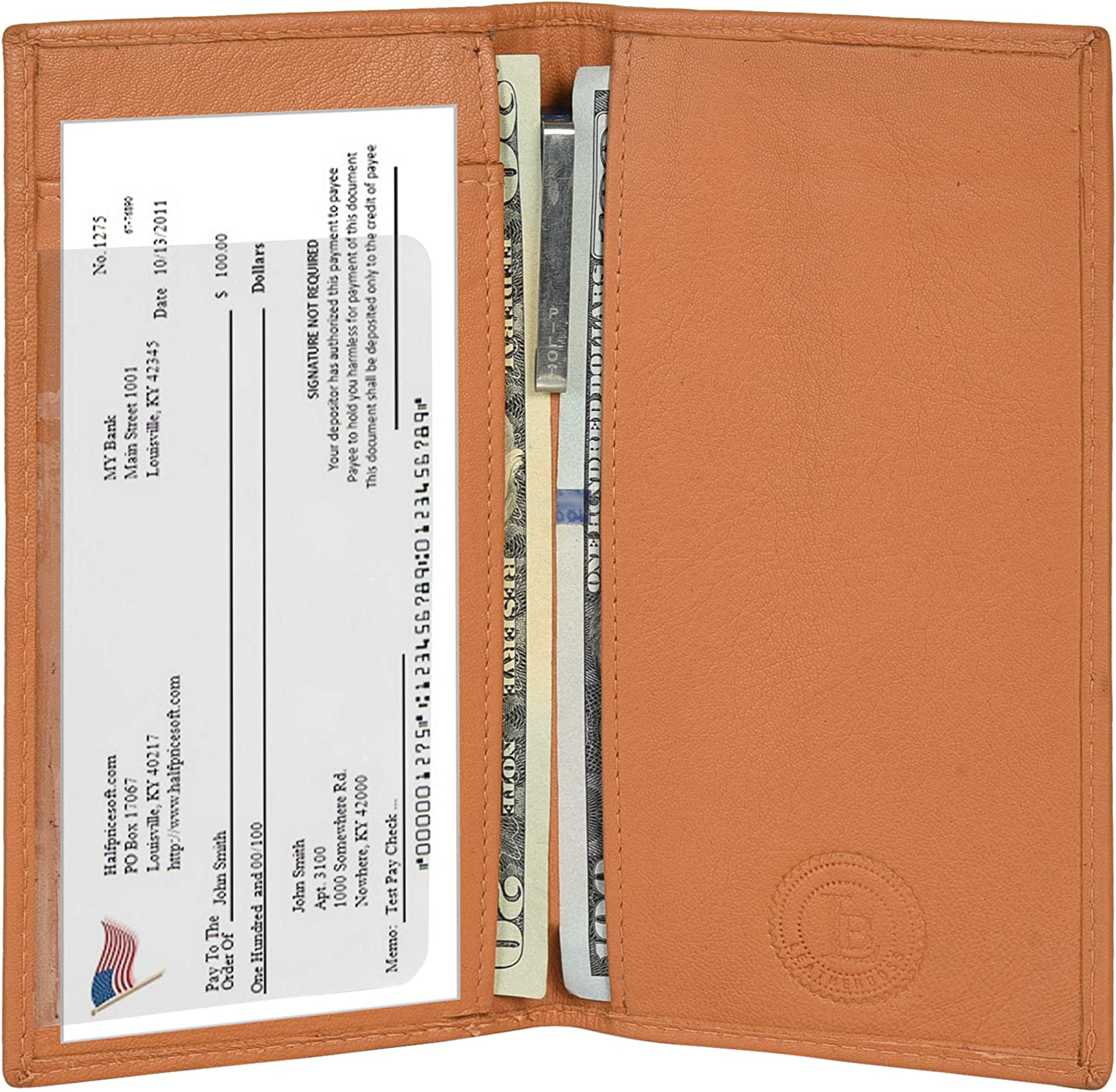 Leatherboss Genuine Leather Plain Checkbook Cover Cash Holder, Tan at  Women's Clothing store: Checkbook Cases