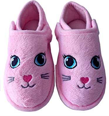 Tootsie Style Little Girls//Toddler Hard Rubber Bottom Cute Fox Slippers Pink//Grey