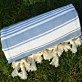 Dandelion - Basic Pattern - Naturally-Dyed Cotton Turkish Towel Peshtemal - 71x39 Inches - Jean Blue