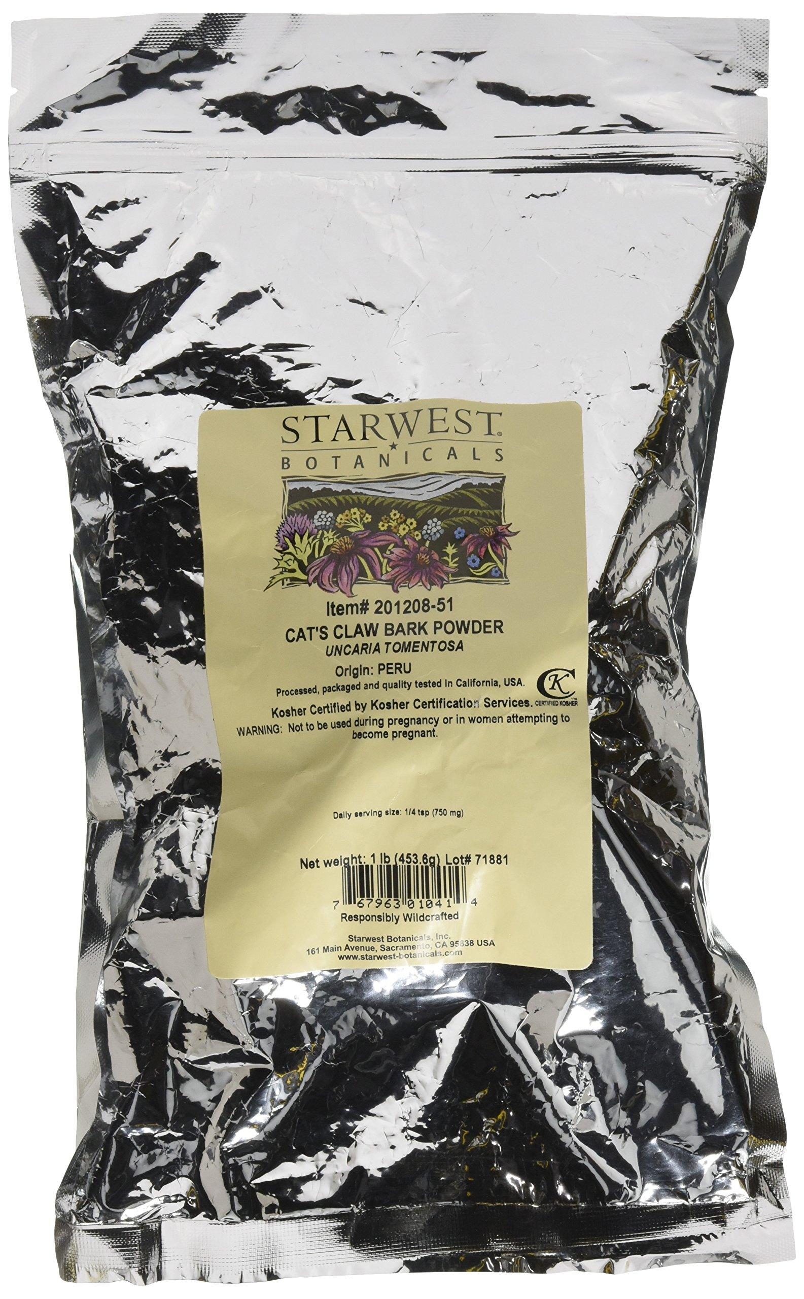 Starwest Botanicals Cat's Claw Inner Bark Powder Wildcrafted, 1 Pound