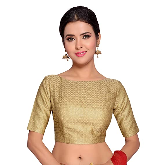 812805c255 Studio Shringaar Women's Benaras Brocade and Georgette Saree Blouse with  Boat Neck and Elbow Length Sleeves