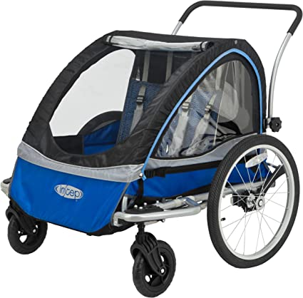 Universal coupler Blue 2-Seater Bike Cycling Trailer Child Kids Baby Seat