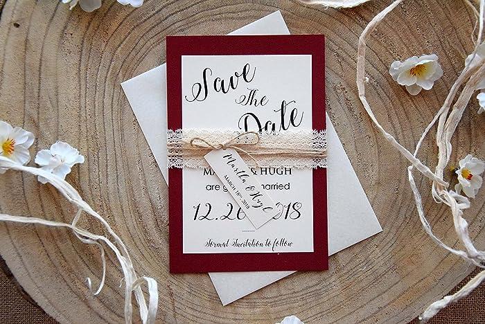 amazon com burgundy wedding save the date cards elegant wedding