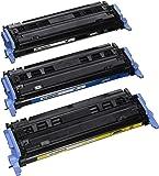 CatchSupplies reemplazo HP 124A cartucho de tóner de color paquete 3 set   cian Q6001A, Q6002A amarillo, magenta Q6003A   compatible con la impresora HP LaserJet 2600N de color, 1600, 2605N, CM1015 MFP, CM1017