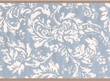 modern white floral pattern blue damask wallpaper border vintage