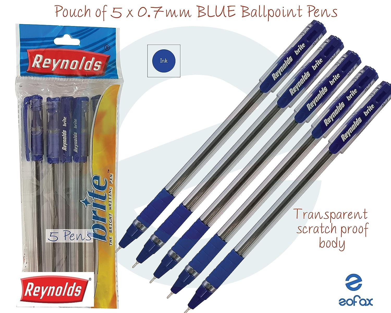 5 x 0.7mm REYNOLDS Brite BLUE Ballpoint Pens Fine Tip Soft Grip Smooth Writing