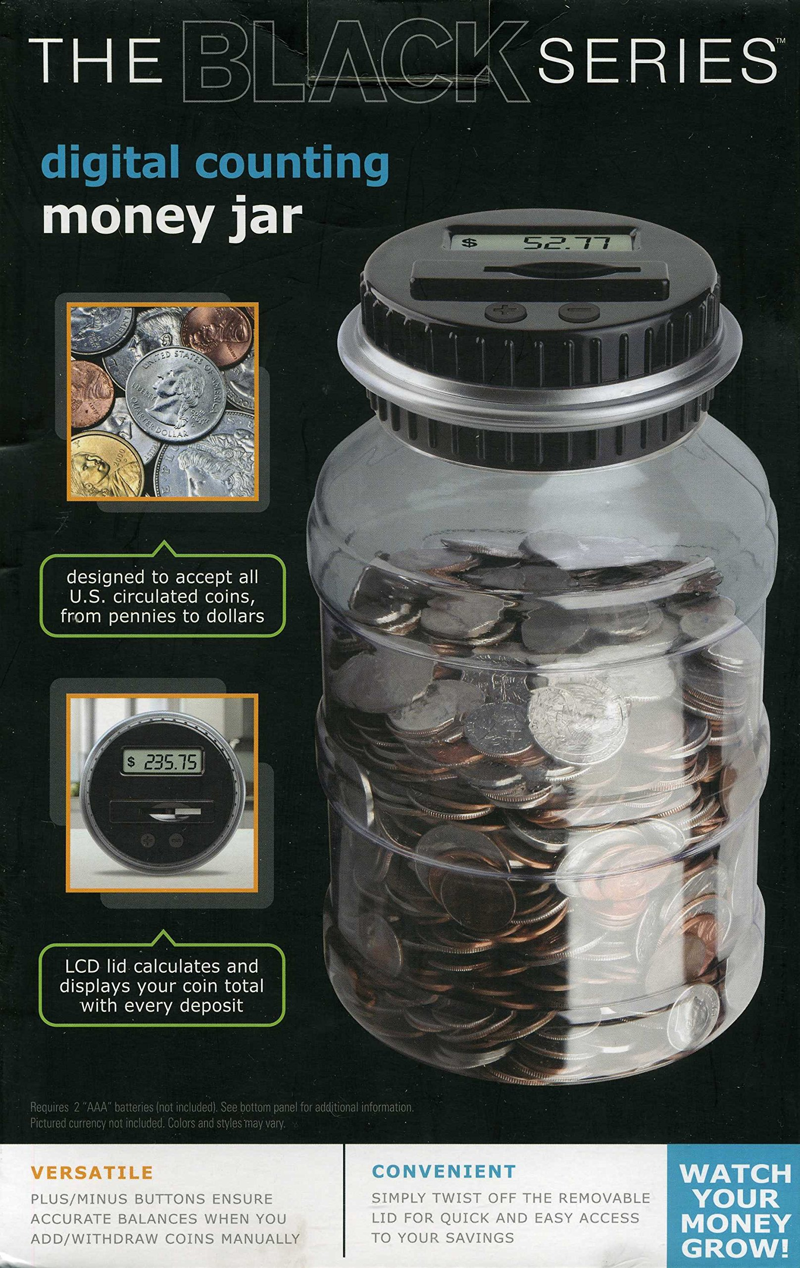 The Black Series Digital Counting Money Jar (clear) by Shift3 (Image #2)