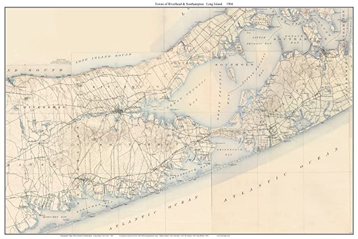 Topographic Map Long Island.Amazon Com Riverhead Southampton 1904 Map Usgs Topo Long Island