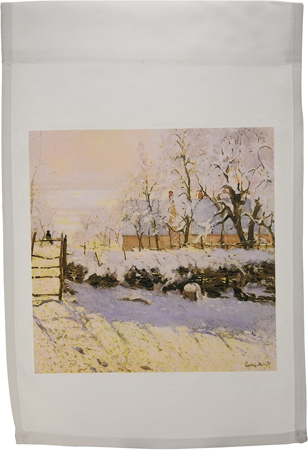 3dRose fl_126553_1 The Magpie, Snow Effect, Outskirts of Honfleur by Claude Monet, 1869 Garden Flag, 12 by 18-Inch