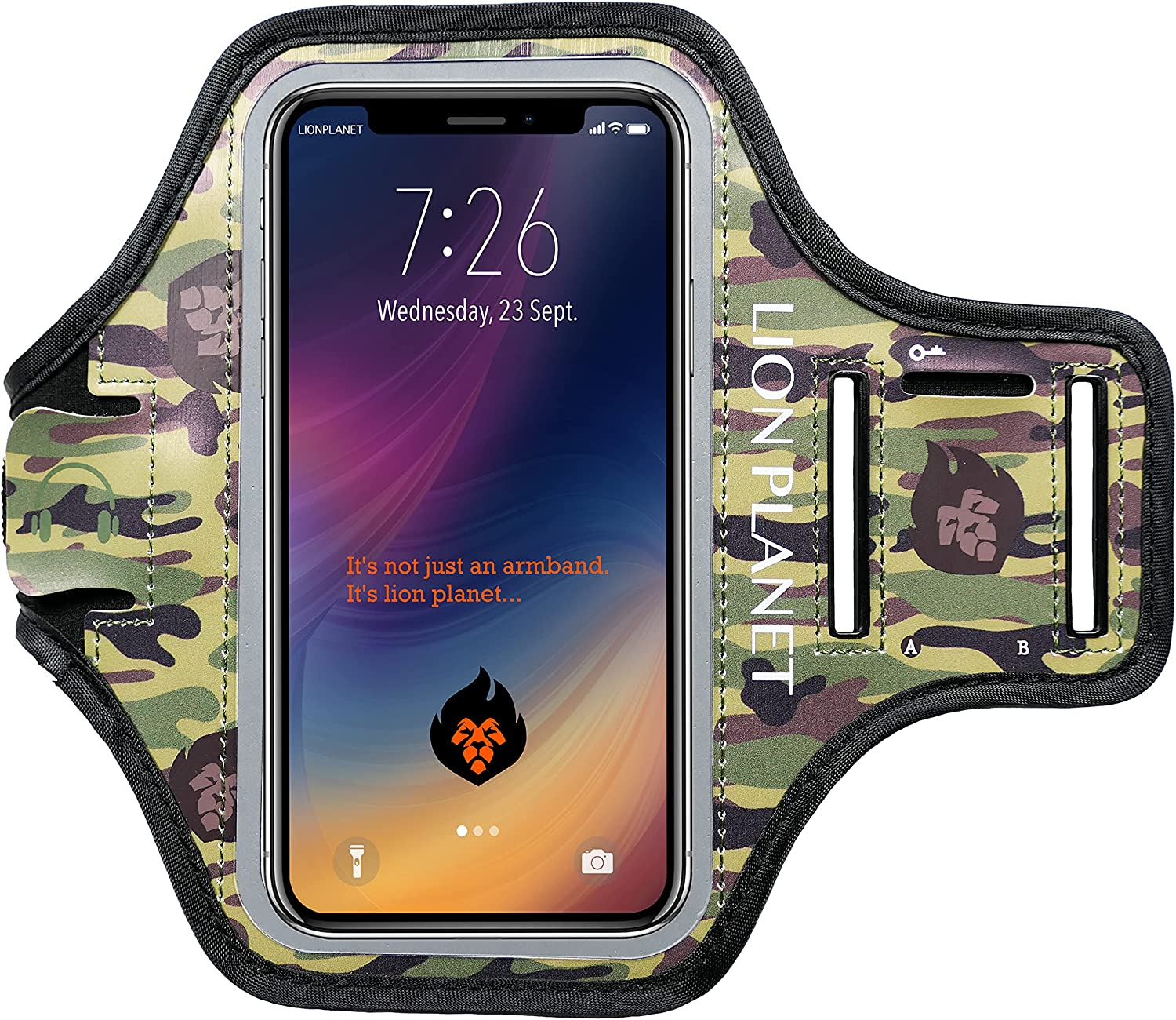 Camouflage Cell Phone Armband Case. for Screen Size of 6.8 inches and Below. with Card Holder, Key Slot, & Earphone Cord Holder. Wear in Running, Workout, Sports, Fitness & Gym.(Camouflage, M 6.5