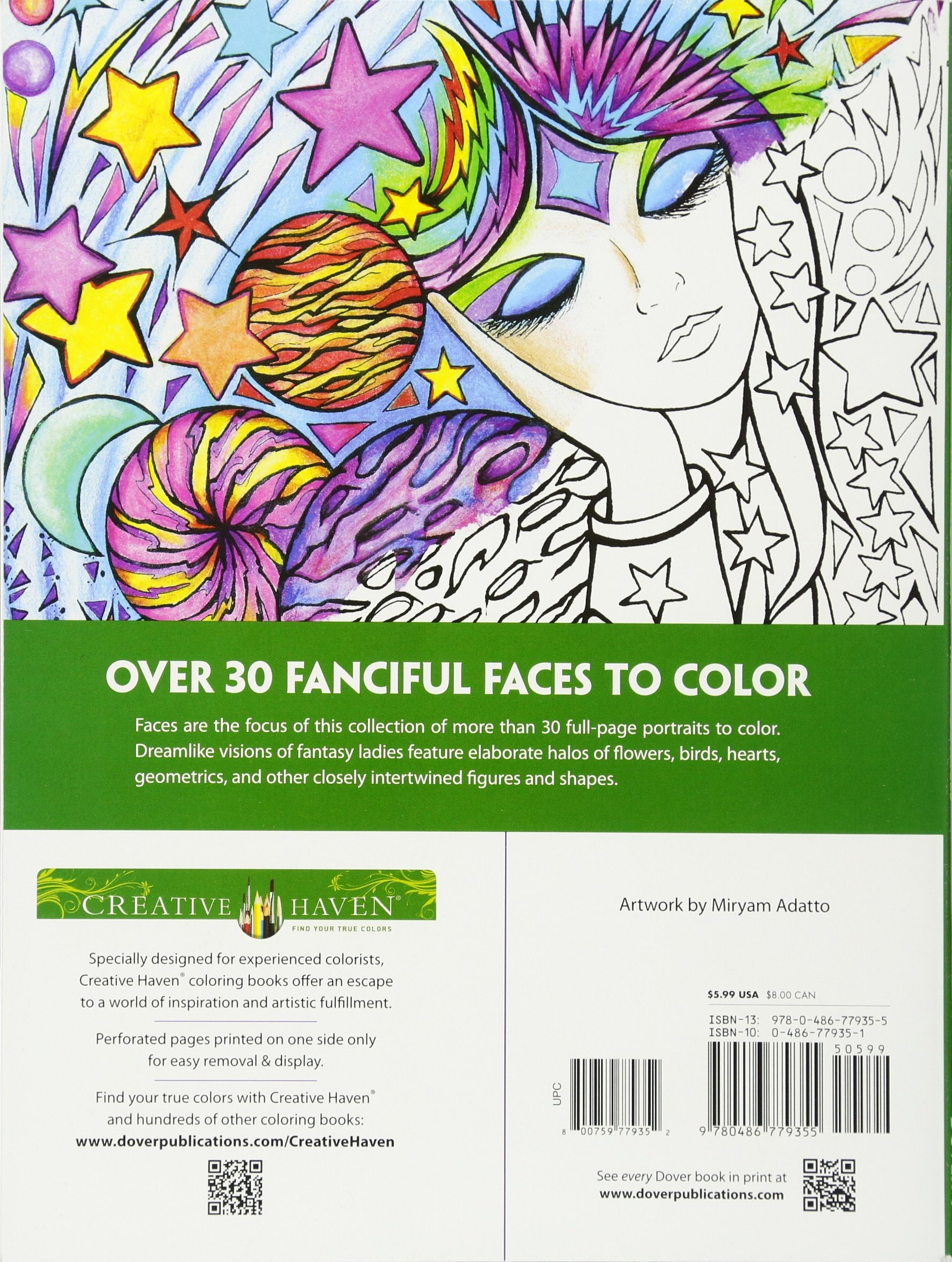 Fanciful Faces Coloring Book Creative Haven Miryam Adatto 9780486779355 Amazon Books