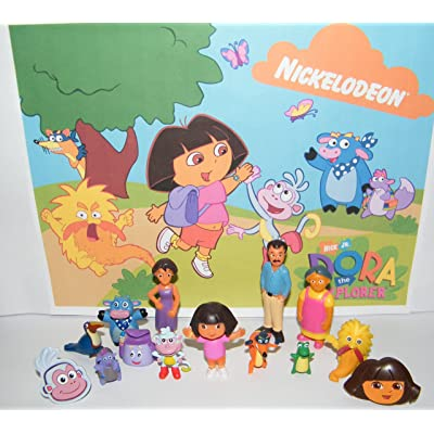 Dora The Explorer and Friends Deluxe Party Favors Goody Bag Fillers Set of 14 with 12 Figures and 2 ToyRings Featuring Dora, Boots, Backpack, Grandma, Mom and More!: Toys & Games