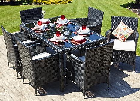 Sedie In Rattan Da Interno : Rettangolare in rattan tavolo da pranzo con 6 sedie set mobili
