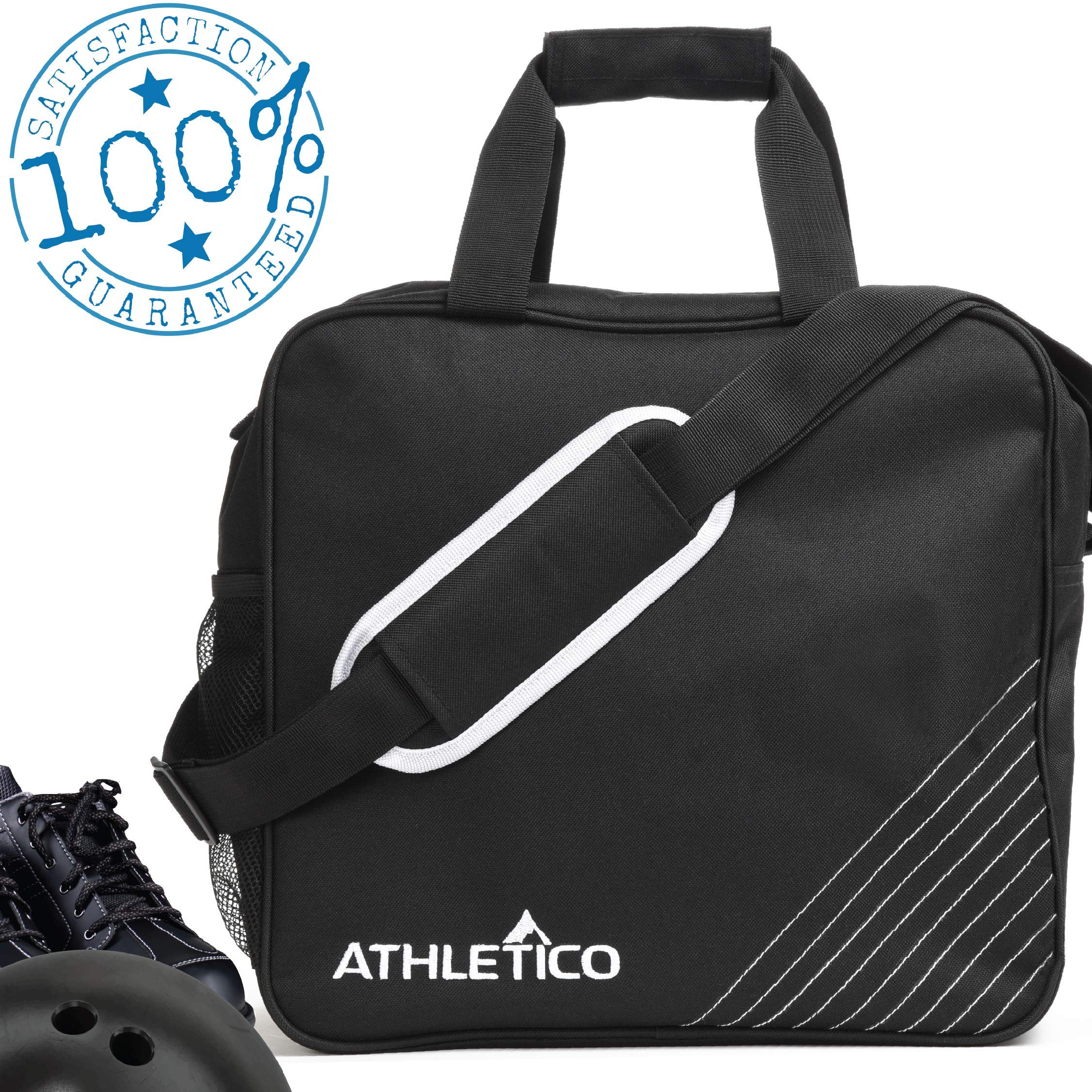 Athletico Essential Bowling Bag - Single Ball Bowling Tote Bag with Padded Bowling Ball Holder (Black) by Athletico