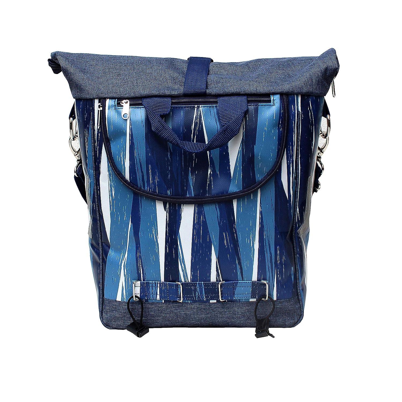 Model Indigo IKURI Bike Bag for Rear Rack Bicycle Bag Pannier Waterproof with Shoulder Strap Unisex Blue Stripes Pattern