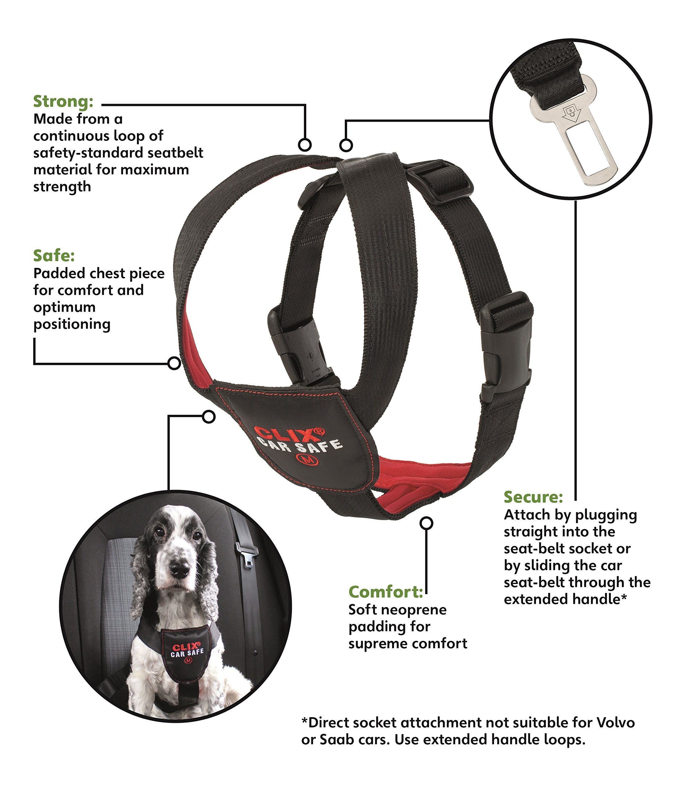 The Company of Animals - CLIX CARSAFE Dog Harness - Multi-Purpose Car Seat Belt and Walking Harness - Easy, Adjustable, Secure and Safe - X-Small by The Company of Animals (Image #3)
