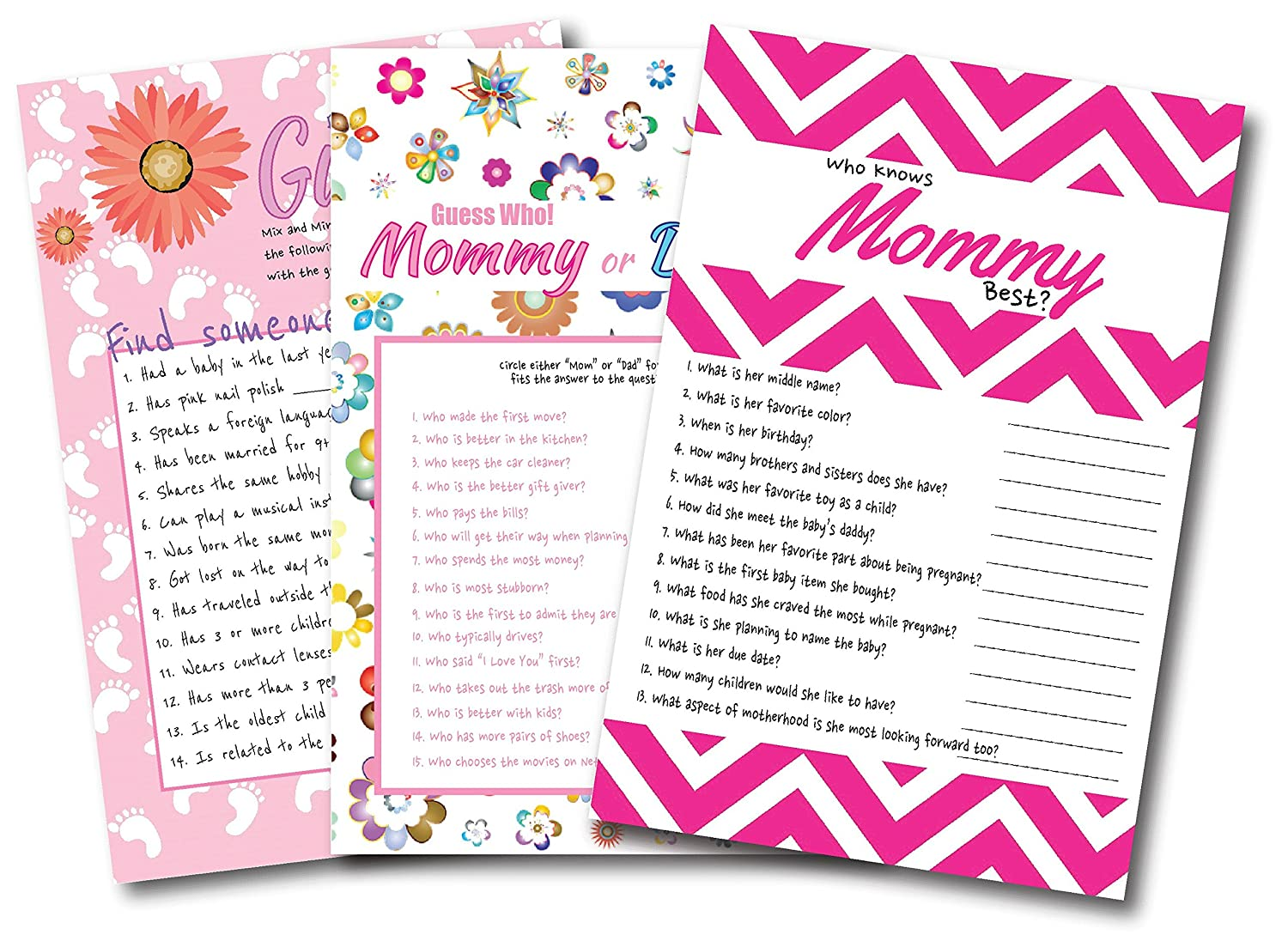 Baby Girl Shower Games Find The Guest, Who Knows Mommy Best, Mommy or Daddy By L and P Designs Baby Party Ideas