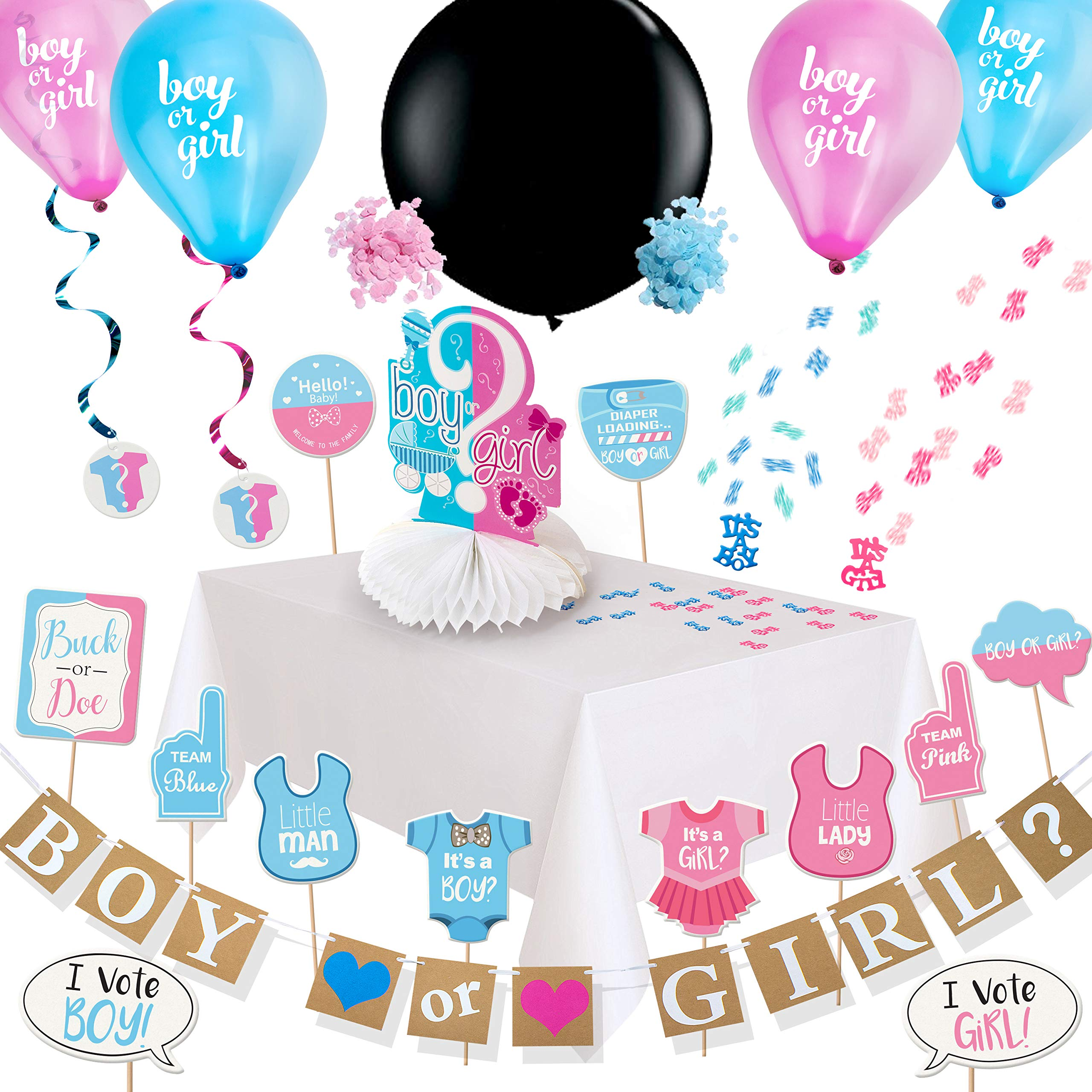 ARTIT Gender Reveal Party Supplies Baby Shower Pregnancy Announcement Decorations Kit Boy or Girl Favors Pack - Banner Centerpiece 36\' Black Balloon Pink & Blue Confetti Swirls Tablecloth Photo Props