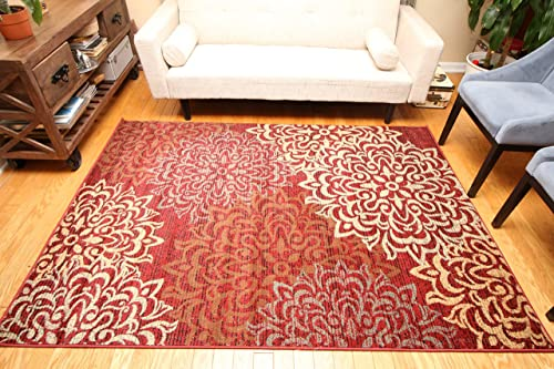 Feraghan New City Contemporary Modern Floral Flowers Wool Area Rug, 8 x 10 , Cinnamon Brown Beige