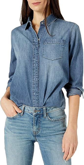 Marca Amazon - Goodthreads Denim Boyfriend Shirt - novelty-t-shirts Mujer