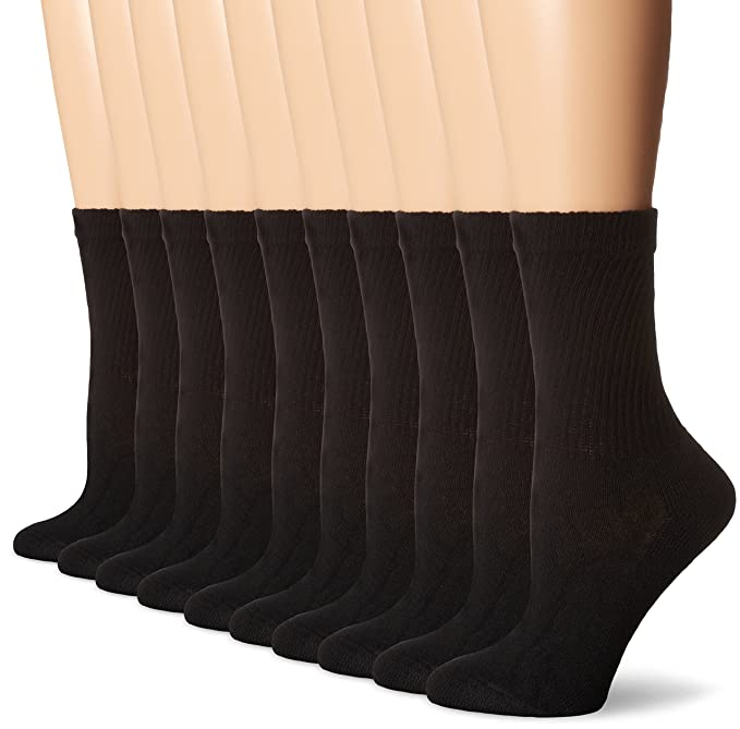 Hanes Women's Crew Sock (Pack of 10) at Amazon Women's Clothing store: