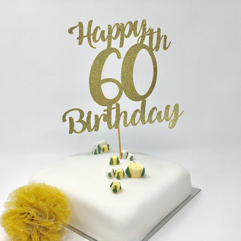 Happy 60th Birthday Cake Topper Gold Shinny Decoration