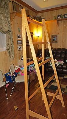 Solid Oak Standing Ladder Quilt Rack