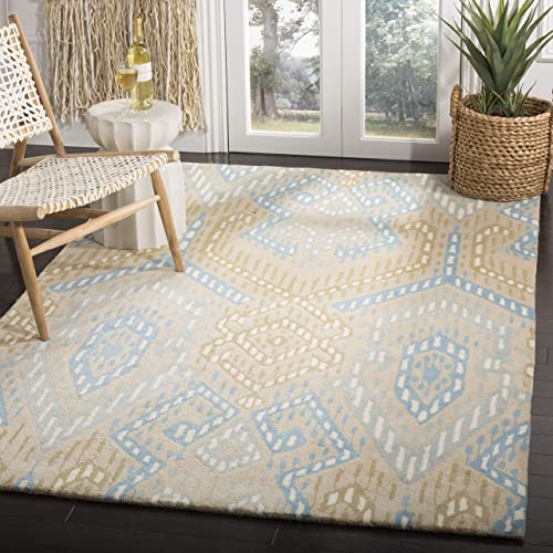 Safavieh Wyndham Collection WYD373C Handmade Blue and Ivory Wool Area Rug