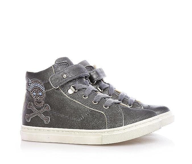 Florens Sneaker à Lacets Grise en Cuir avec Fermeture en Velcro et Fermeture éclair Latérale, Décorations avec Strass et Semelle en Caoutchouc, Fille, Filles-27