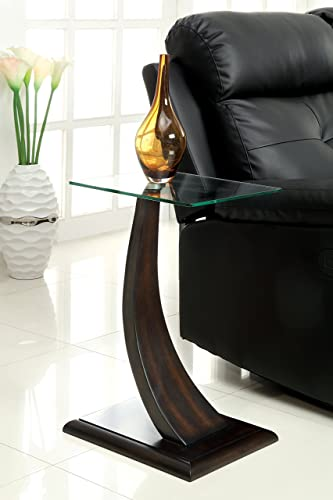 Furniture of America Halen Contemporary Glass Top Side Table, Dark Walnut