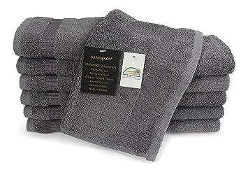 SALBAKOS Toalla ecológica de algodón turco de baño para hotel de lujo y spa 12 Piezas toallita Gris: Amazon.es: Hogar