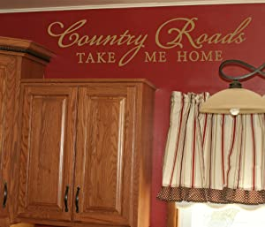 Wall Decor Plus More Country Roads Take Me Home Wall Decal Inspirational Quote 32x7.5 Tan Tan