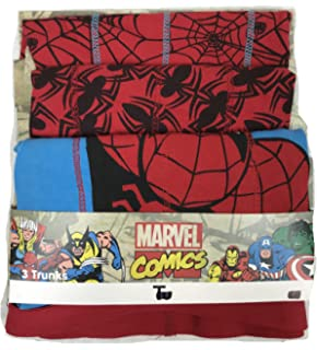 JollyRascals Boys New Spiderman Superhero Boxers Pants Briefs Kids Underwear 3 Pack Spider-Man Marvel Comics Cotton Set Red Blue 3 Psc Ages 2 3 4 5 6 7 8 9 10 11 12 Years