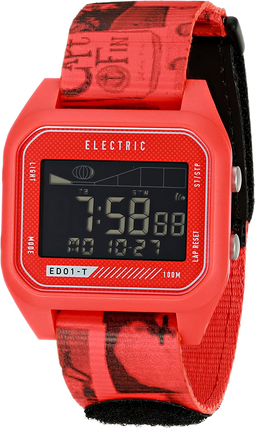 Electric Men s EW0120020044 ED01 Tide Nato Band Digital Display Japanese Quartz Red Watch