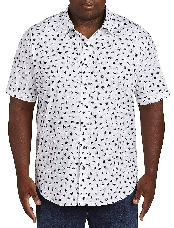 DXL Synrgy Big and Tall Leaf-Print Stretch Sport Shirt White